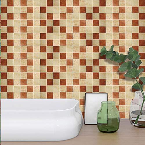 Paquete de 10/pegatinas adhesivas para azulejo con efecto mosaico en color crema y marr/ón imitaci/ón de piedra Pegatinas auto adhesivas de tama/ño 14,9 x 14,9 cm.