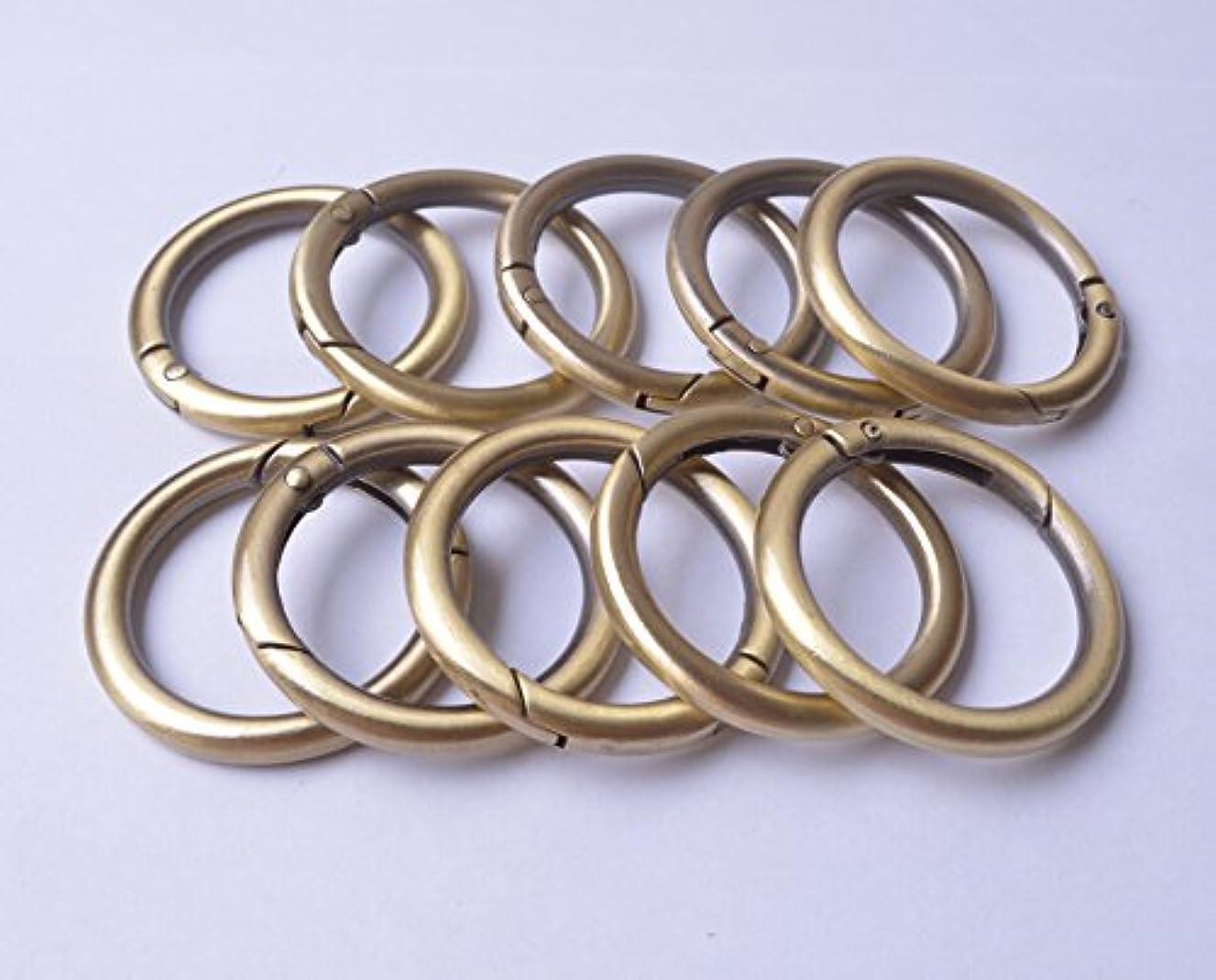 Wento 10pcs 1 1/4'' (32mm) Gate Brushed Brass O Ring Round Carabiner Snap Clip Trigger Spring Keyring Buckle WTOR001 (1 1/4'', Brushed Brass)