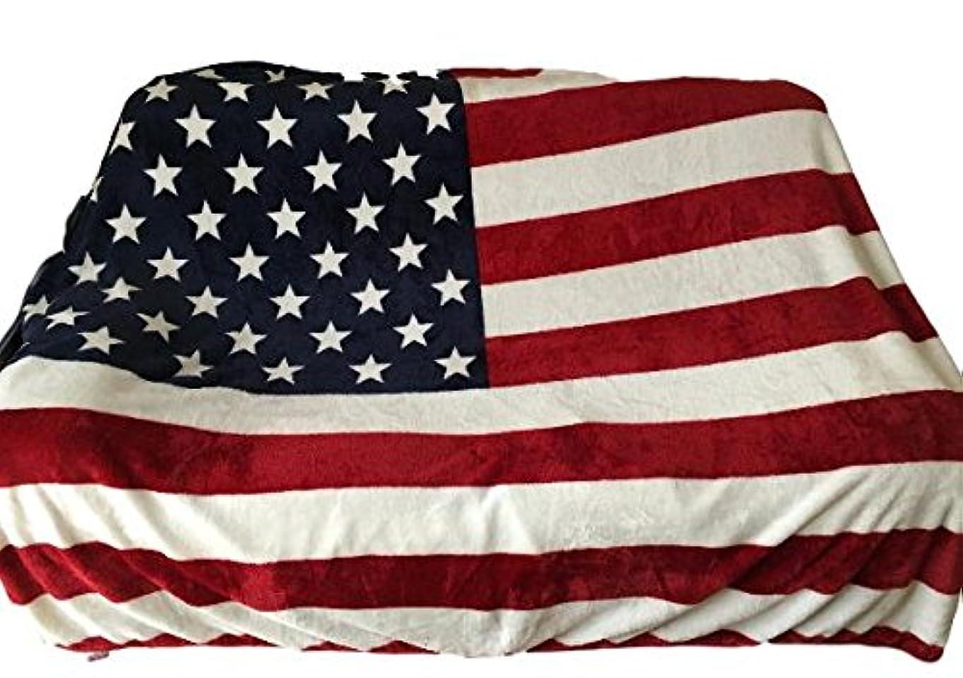 ダイヤモンド市の中心部凝縮するアメリカ 星条旗 国旗 ふんわり あったか 毛布 ブランケット スタイリッシュ ソファカバー (11 アメリカ 140×210)