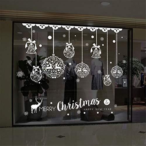 ZPZZPY Etiqueta de la paredEtiqueta De La Pared De Navidad Decoración Del Hogar Tienda Decoración De La Ventana Campanas Colgantes Campanas Copo De Nieve Cervatillo