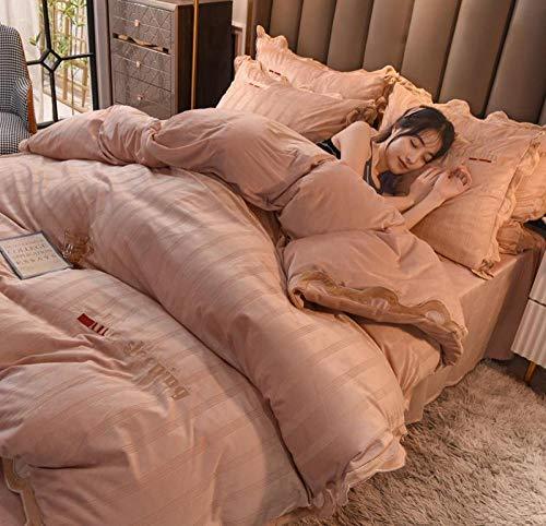 Juegos de Fundas nordicas para Cama 150-Invierno grueso extra grande doble king funda nórdica dormitorio de estudiantes cama individual funda de almohada individual regalo-UN_Cama de 1,8 m (4 piezas)