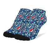 Girl's Cotton Short Sock Fashion Non Slid for Hockey Pepsi-Cola-Blue-And-White- Stocking