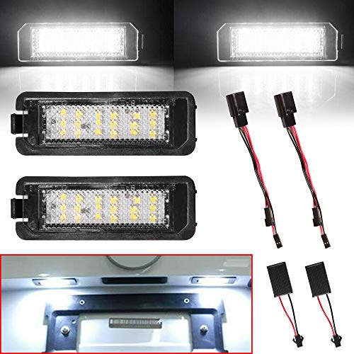Beneges 2 Pcs Error Free Xenon White LED License Plate Light Compatible with 1998-2014 Golf CC Eos GTI Rabbit Passat Polo Cayman Cayenne 987 911 Rear License Tag Lights 3D0943021A