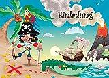 10 Einladungskarten'PIRAT AUF SCHATZSUCHE' für den Piraten-Kindergeburtstag/Geburtstagseinladungen Kinder Mädchen Jungen von Edition Colibri (10660)