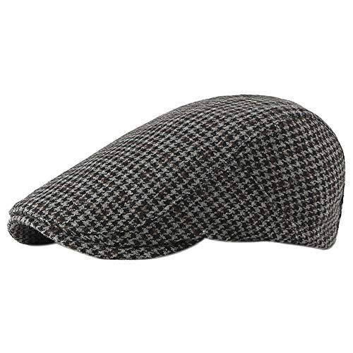 Dosige Gorro de Invierno de Primavera y otoño para Hombre Sombrero a Cuadros con Boina Gorra Casual para Mujer Size 55-59CM (Negro)