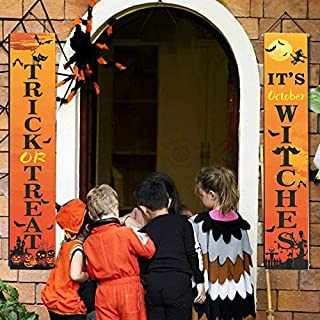 Holly LifePro Halloween Trick or Treat & It's October Witches Banner|Halloween Decoration Outdoor Banner | Porch Decoratio...