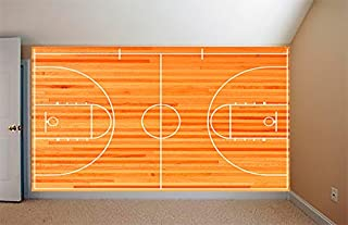 Basketball Court REMOVABLE WALLPAPER, WALL DECOR, CUSTOM DESIGN, WALL MURAL (96 w x 96 h)