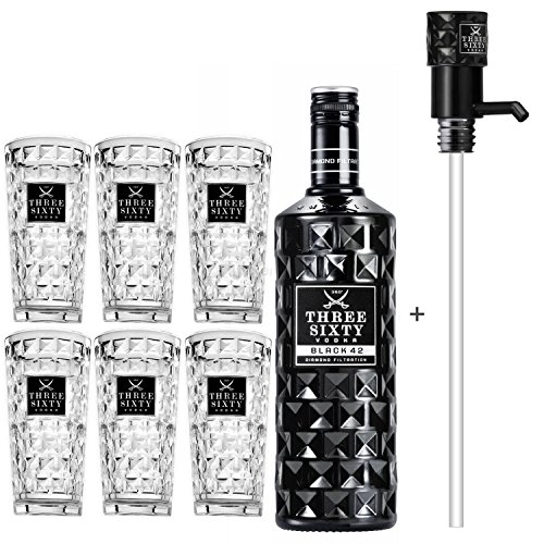 Three Sixty Black 42 Vodka 3L (42% Vol) + Pumpe + 6x Longdrink Gläser eckig -[Enthält Sulfite]