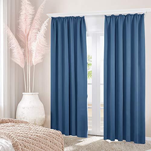 Deconovo Verdunkelung Fenstervorhang Sonnenschutz mit kräuselband Gardinen 220x140 cm Blau 2er Set