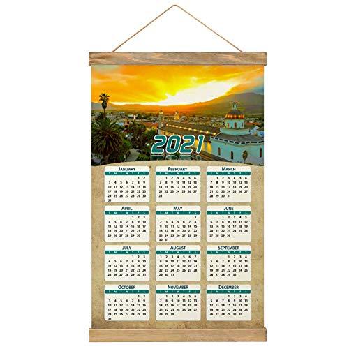 "Ecuador Imprimir Póster Calendario de Pared 2021 12 Meses Pintura decorativa Cuadros Colgantes Lienzo Madera 20.4 ""x 13.1"" GL-Ecuador-1619"