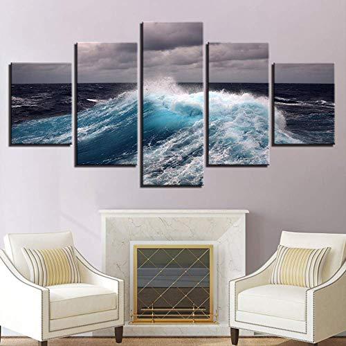 LIBIHUA Moderne Leinwandbilder Bilder Wohnkultur Für Wohnzimmer 5 Stücke Bewölkt Meer Wellen Seascape Gemälde Wandkunst Poster Rahmen 200x100cm Rahmen