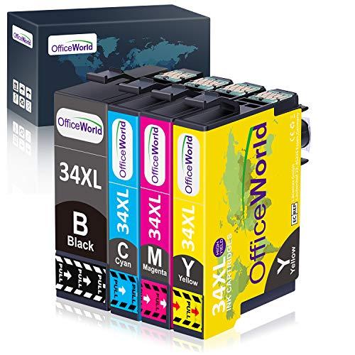 OfficeWorld 34XL Druckerpatronen Ersatz für Epson 34 34XL Multipack Patronen Kompatibel für Epson Workforce Pro WF-3720DWF WF-3725DWF WF-3720 WF-3725 WF3720 WF3725 (Schwarz, Cyan, Magenta, Gelb)