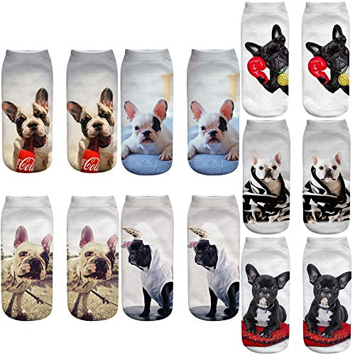 3D French Bulldog Ankle Socks Funny Cute Gift for Dog Puppy Lovers (French Bulldog)