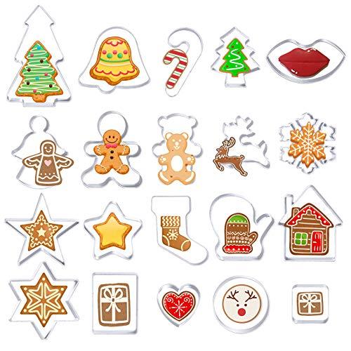MELLIEX 20 Piezas Moldes de Galletas Navidad, Cortador de Galletas Incluye Angel Bell Reindeer Gingerbread Man para Cookie Fondant