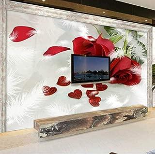 3D Decorations Murals Wallpaper Wall Stickers Red Bright Rose Pattern Backdrop Art Kids Room (W)400x(H)280cm