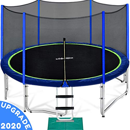 Zupapa 15 14 12 10 FT Trampoline for Kids with Safety Enclosure Net Outdoor Trampolines with...