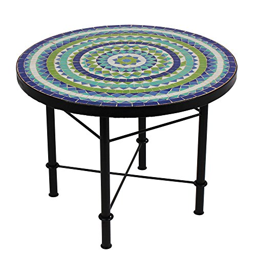 Albena Marokko Galerie Marokkaanse mozaïektafel 60 cm salontafel tuintafel bijzettafel terrastafel tegeltafel Mediterrane tafel ø 60cm Hiawa blauw/turquoise/wit/groen