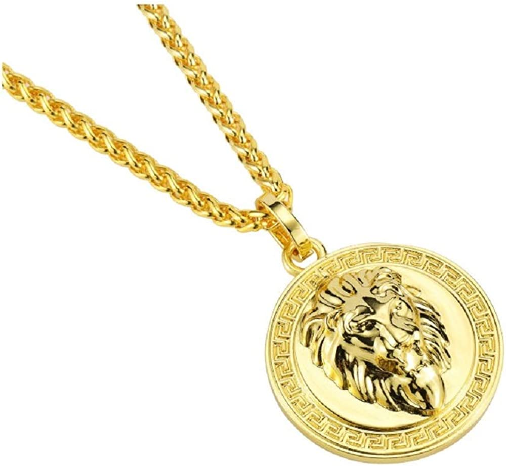Bruce Brother Gold Plated Stainless Steel Hip HOP Lion Head with 5 mm electrophoresis Wheat Ear Chain Pendant for Men,75 cm
