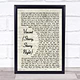 Vincent (Starry, Starry Night) Vintage Script Song Lyric Quote Print