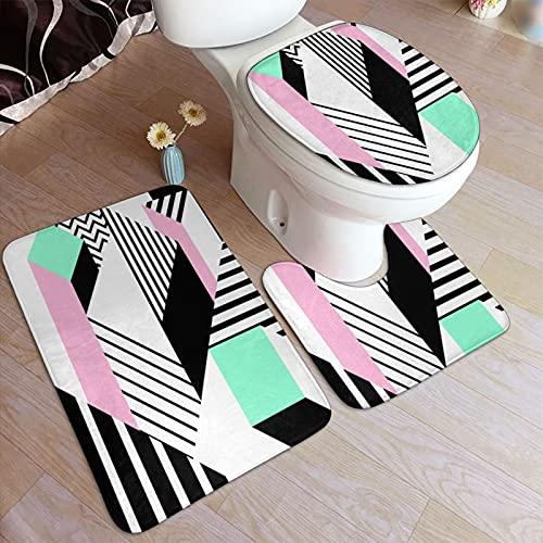 GUVICINIR Alfombrillas de baño Set 3 Piezas,Colorido patrón geométrico de Memphis en Forma Abstracta Moderna Diversión Bauhaus,Alfombra de Piso Antideslizante Alfombra de Inodoro
