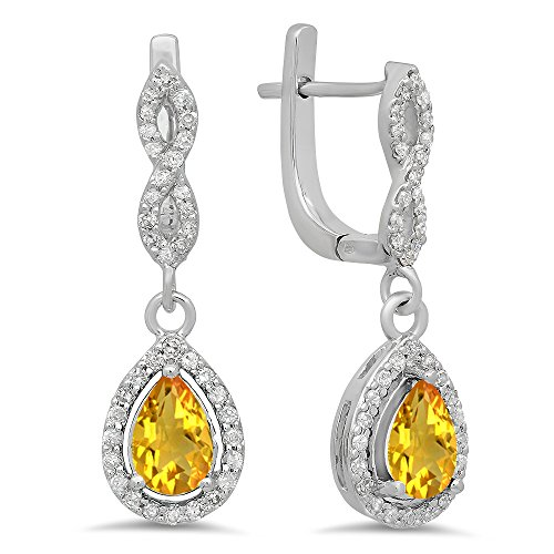 Dazzlingrock Collection 14K Pear Citrine & Round White Diamond Ladies Halo Style Teardrop Dangling Drop Earrings, White Gold