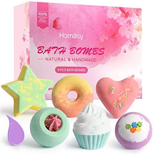 Homasy 6 Pezzi Bombe da Bagno, con Oli Essenziali Naturali, bombe da bagno bambini, Set di Sali da Bagno con Forme Diverse Creativa, Trattamento Spa Fragrante Regalo di Compleanno per Donna