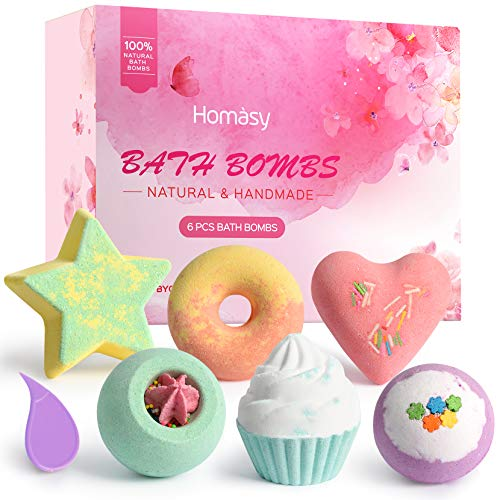 Homasy 6 Piezas Bombas de Baño, Kit SPA de Aceite Esencial Hecho a Mano, Bombas de Baño de Burbujas Efervescentes, Manteca de Karité Hidrata, Cumpleaños, Regalos para Mujeres, Madres y Niños