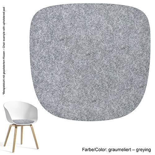 Feltd. Eco Filz Auflage 4mm Simple - geeignet für HAY - About a Chair - AAC 20-28 // 29 Farben inkl. Antirutschunterlage (Graumeliert)