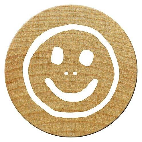 Woodies Smiley Mini Stempel, Holz, braun, 15mm