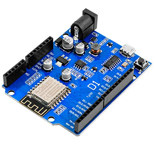 AZDelivery D1 NodeMCU WiFi ESP8266MOD-12F CH340 Micro USB Serial Chip IoT Development Board ESP8266 3.3V PCB Antenna WLAN I2C IIC SPI Compatible with Arduino IDE including E-Book!