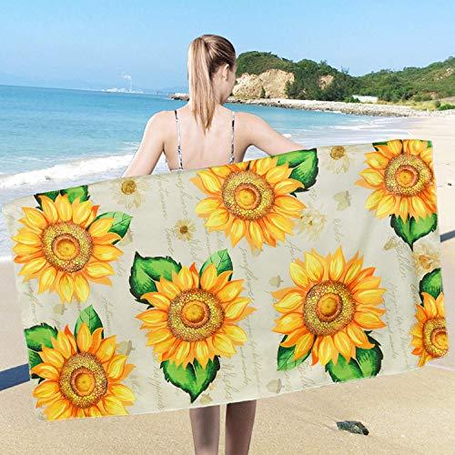 Toalla de playa rústica de girasol, de gran tamaño, manta de playa amarilla, toallas de mano grandes absorbentes para baño, hotel, gimnasio, spa, piscina, natación, 80 x 149 cm