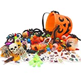 Halloween Party Favors - Perfect Assortment of Halloween Toys for Kids, Great Goodie Bag Fillers, School Classroom Rewards, Halloween Prizes to the Trick-or-Treaters(28 types of the toy, 135 Pcs)