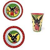 SET- Pappa Bing Bunny Coniglietto 2 Piatti + Bicchiere Bambino - BIN19/3PZ