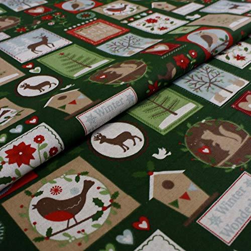Hans-Textil-Shop Stoff Meterware Winter Wonderland - Für Kinder, Weihnachten, Deko, Tischdecke, Nähen, Basteln - 1 Meter
