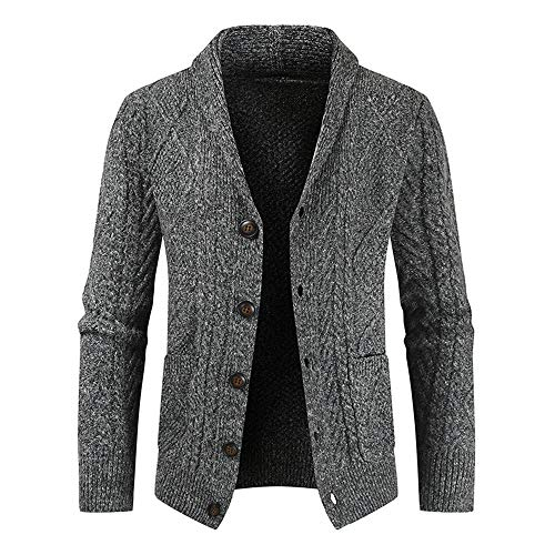 YINLAN Mens Merino Wool Blended Winter Shawl V Neck Knitted Button Down Cardigan Sweater Jumper Tops Mens Casual Regular Fit Solid Color Knitting Sweatshirt Outdoors Outwear Jacket Blouse with Pocket