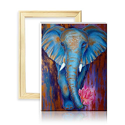 ufengke Kit Pintura de Diamantes 5D Elefante Azul Punto de Cruz Diamante Completo DIY para Amantes del Arte, con Marco de Madera, Diseño 25x35cm