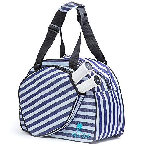 Pik'le'Ball Women's PREMIUM Pickleball Bag. The Original Pickleball Tote. Water Bottle Holder, Racquet/Paddle Case, Fits More Than 2 Paddles. Athletic Bag, Sling Bag, Pink/Blue. Satisfaction Guarantee