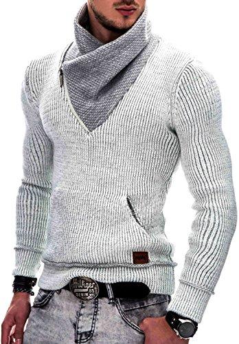 ndicode Herren Dane Grobstrick Winter-Pullover Norweger Hoodie Kapuzenpullover Schalkragen Sweatshirt Off Weiß S