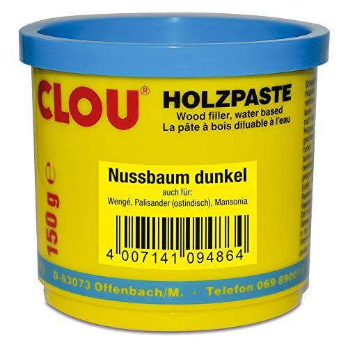 Clou Holzpaste zum Reparieren und Auskitten von Holzschäden nussbaum dunkel, 150 g: gebrauchsfertige Paste geeignet für den gesamten Innenbereich