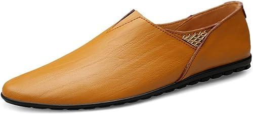 JIALUN-des Chaussures Chaussures Chaussures Homme - Mocassins en Cuir véritable (Couleur   jaune marron, Taille   38 EU)  tous les produits sont spéciaux