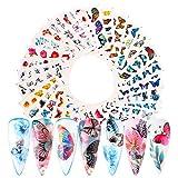 SUI-lim Ongle Autocollants Nail Art Autocollants de Transfert à Eau Auto-Adhésives Décalques D'ongles de Fleur de Papillon(48 Feuilles)