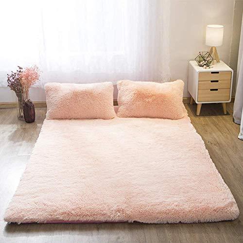 GuoEY Floor Futon Mattress, Japanese Thick Plush Tatami Floor Mat Portable Camping Mattress Kids Sleeping Pad Foldable Roll Up Bed,Light Jade,180x200cm