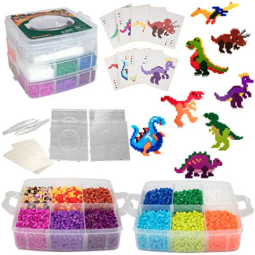 8,000pc DIY Complete Fuse Bead Kit w Carrying Case - Dinosaurs - 18 Colors, 8 Unique Templates, 4 Peg Boards, Tweezers, Ironing Paper - Works w Perler Beads, Pixel Art Color by Numbers Toy Project
