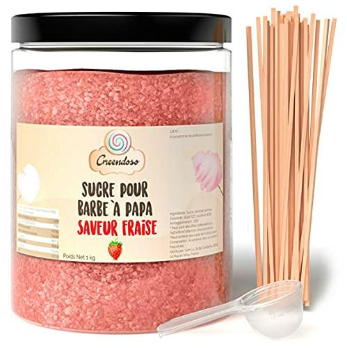 Greendoso-Zuckerwatte Zucker, Aromazucker 1 kg Erdbeere für Zuckerwattemaschine + 50 Stäbchen (30 cm) + 1 Messlöffel