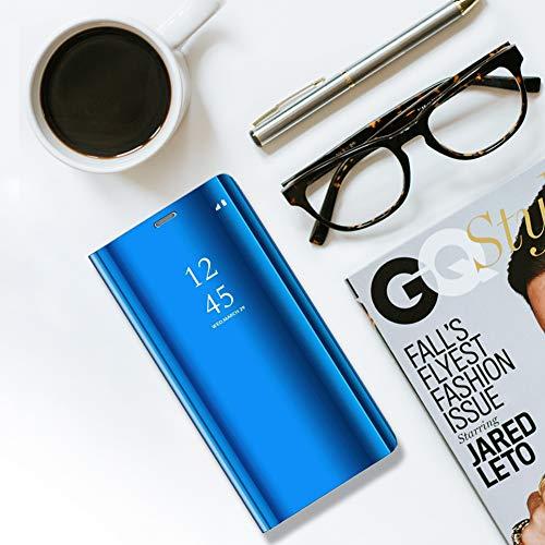 Kompatibel für Huawei Y7 2018 Hülle, Spiegel Hülle Flip Case für Huawei Honor 7C Handy Schutzhülle [Ständer] Dünn Clear View PC Plastik Hard Cover Handyhülle (Blau, Huawei Y7 2018/Honor 7C) - 4