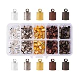 PH PandaHall 200PCS 5 Color Brass Leather Ends Cord Glue in Barrel End Caps, Leather Cord Finding Kit for...