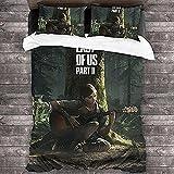The Last of Us PS4 - Juego de funda nórdica y 2 fundas de almohada 3D para cama individual infantil (Joel-1, King 220 x 240)