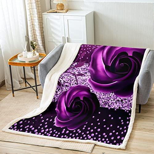 Manta de cama con flores de rosas, color morado romántico, para niños, regalo de niños, manta de poliéster suave con lentejuelas brillantes de cristal para sofá, tamaño de bebé (30 x 40 pulgadas)
