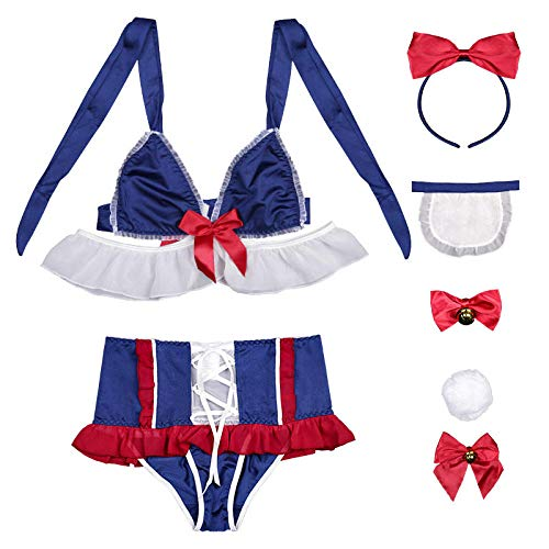 MEN.CLOTHING-LEE Corsés para Mujer Conjuntos de lencería para Mujer Cute Kawaii Bunny Tail Underwear Dress Bra and Panty Set Sexy Women Lingerie Snow White Cosplay Disfraz Maid Uniform-Suit_One_Size