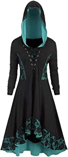 Women Renaissance Costume Hooded Robe Lace Up Vintage Pullover High Low Long Hoodie Dress..